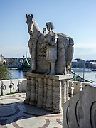Eastern Europe, Hungary, Budapest, Statue of St Stephen (sv Istvan) outside the Gellert Hill Cave