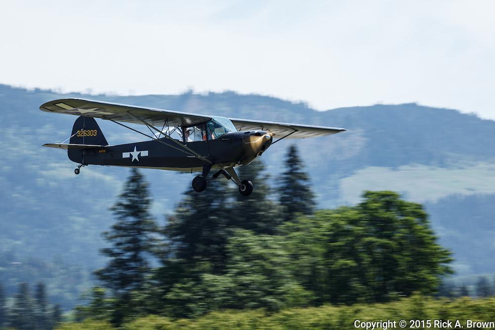 Taylorcraft L-2 landing at WAAAM.
