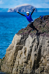 18MAY21 Matt jumps, out with Mollie Hughes and Stevie Boyle, Coasteering with Ocean Vertical at Dunbar.
