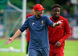 ROTTACH-EGERN, GERMANY - Friday, July 28, 2017: Liverpool's manager Jürgen Klopp and Divock Origi during a training session at FC Rottach-Egern on day three of the preseason training camp in Germany. (Pic by David Rawcliffe/Propaganda)