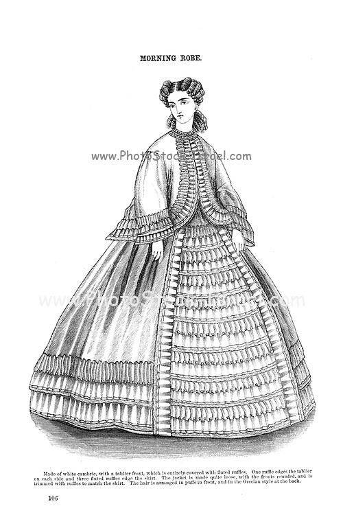 Morning Robe from Godey's Lady's Book and Magazine, August, 1864, Volume LXIX, (Volume 69), Philadelphia, Louis A. Godey, Sarah Josepha Hale,