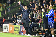 Forest Green Rovers manager, Mark Cooper appeals a decision during the EFL Sky Bet League 2 match between Forest Green Rovers and Stevenage at the New Lawn, Forest Green, United Kingdom on 21 August 2018.