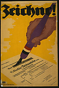 Poster shows a hand holding a pen and signing a German war bond certificate. 1918.