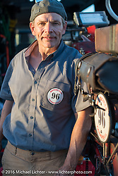 Mike Podger of Doug Jones' 1914 Indian team in Lake Havasu, Arizona during the Motorcycle Cannonball Race of the Century. Stage-13 ride from Williams, AZ to Lake Havasu City, AZ. USA. Friday September 23, 2016. Photography ©2016 Michael Lichter.