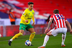 Max Aarons of Norwich City is shadowed by Josh Tymon of Stoke City - Mandatory by-line: Nick Browning/JMP - 24/11/2020 - FOOTBALL - Bet365 Stadium - Stoke-on-Trent, England - Stoke City v Norwich City - Sky Bet Championship