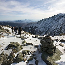 Winter hiking near Lion Head on Mount Washington in New Hampshire USA