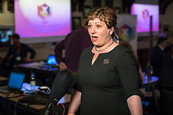 © Licensed to London News Pictures. 31/05/2017. Cambridge, UK. Shadow Foreign Secretary Emily Thornberry is interviewed in the spin room at Cambridge University Union after the BBC General Election Debate. Photo credit: Rob Pinney/LNP