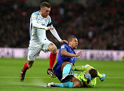 Jamie Vardy (L) of England competes during the International Friendly Match between England and the Netherlands at Wembley Stadium in London, Britain, on March 29, 2016. England lost 1-2. EXPA Pictures © 2016, PhotoCredit: EXPA/ Photoshot/ Han Yan<br /> <br /> *****ATTENTION - for AUT, SLO, CRO, SRB, BIH, MAZ, SUI only*****