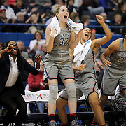 HARTFORD, CONNECTICUT- JANUARY 10: The UConn bench including starters celebrate a fourth quarter basket  from left, Katie Lou Samuelson #33, Gabby Williams #15, Napheesa Collier #24 and Kia Nurse #11 of the Connecticut Huskies in their record ninetieth win during the the UConn Huskies Vs USF Bulls, NCAA Women's Basketball game on January 10th, 2017 at the XL Center, Hartford, Connecticut. (Photo by Tim Clayton/Corbis via Getty Images)