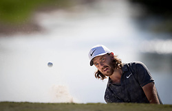 February 25, 2018 - Palm Beach Gardens, Florida, U.S. - Tommy Fleetwood hits out of the bunker on the 6th hole during the final round of the Honda Classic at PGA National Resort and Spa in Palm Beach Gardens, Florida on February 25, 2018. (Credit Image: © Allen Eyestone/The Palm Beach Post via ZUMA Wire)