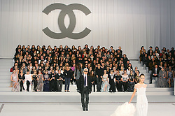 German fashion designer Karl Lagerfeld makes an appearance on the runway after Chanel's Haute-Couture Spring-Summer 2007 collection presentation held at 'Le Grand Palais', in Paris, France, on January 23, 2007. Photo by Java/ABACAPRESS.COM