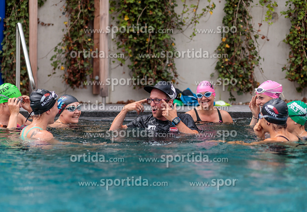 23.06.2017, Hotel Forsthofgut, Leogang, AUT, OeSV, Schwimmtraining Damen Speed Team, im Bild Tamara Tippler (AUT), Andreas Hochwimmer (Konditionstrainer), Ramona Siebenhofer (AUT), Mirjam Puchner (AUT) // during a swimmtraining of the Austrian Ladies Speed Team at the Hotel Forsthofgut, Leogang, Austria on 2017/06/23. EXPA Pictures © 2017, PhotoCredit: EXPA/ JFK