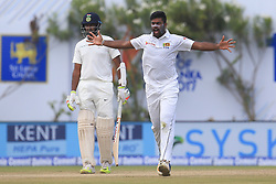 July 27, 2017 - Galle, Sri Lanka - Sri Lankan cricketer Lahiru Kumara (R) celebrates during  the 2nd Day's play in the 1st Test match between Sri Lanka and India at the Galle International cricket stadium, Galle, Sri Lanka on Thursday 27 July 2017. (Credit Image: © Tharaka Basnayaka/NurPhoto via ZUMA Press)