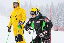 21.12.2011, Hermann Maier Weltcup Strecke, Flachau, AUT, FIS Weltcup Ski Alpin, Herren, Slalom 1. Durchgang, im Bild Marcel Hirscher (AUT)  mit seinem Vater Ferdinand // Ferdinand and Marcel Hirscher (AUT) course inspection before Slalom race 1st run of FIS Ski Alpine World Cup at 'Hermann Maier World Cup' course in Flachau, Austria on 2011/12/21. EXPA Pictures © 2011, PhotoCredit: EXPA/ Johann Groder