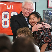 """Janelle Torres, a Miyamura High School graduating senior, hugs Jay McCollum, the Rotary Club's Senior of the Year Chairman after he presents her with a scholarship award letter for $6000, the """"First Place"""" award for the 2018-2019 school year, Wednesday, May 1 at the Senior of the Year luncheon at Sammy C's in Gallup."""