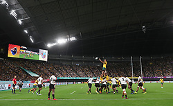 Australia's Rory Arnold wins a lineout during the 2019 Rugby World Cup Pool D match at Sapporo Dome.
