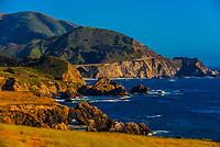 View of the Big Sur coastline from Notleys Landing, between Carmel Highlands and Big Sur, Monterey County, California.