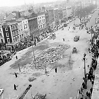 The last of the rubble of Nelson's Pillar. The first explosion on March 8, 1966 was detonated by Republican activities. Six days later the army destroyed the remaining structure with another explosion. (Part of the Independent Newspapers/NLI Collection)