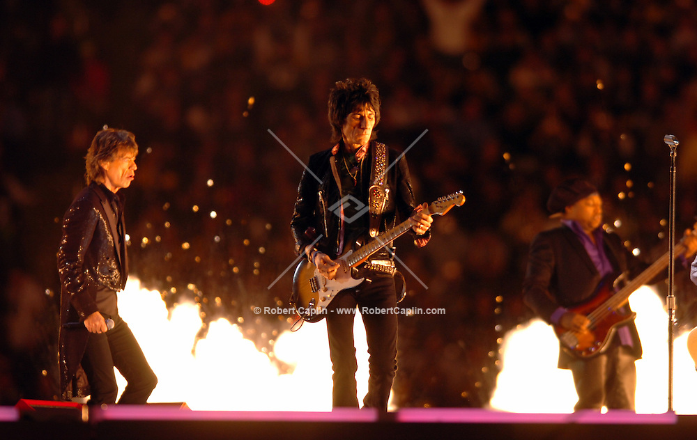 The Rolling Stones Play for half time at the Super Bowl in Detroit.