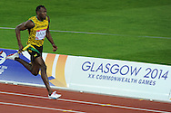 Commonwealth Games, Glasgow 2014<br /> Usain Bolt in the 4x100m relay heats<br /> <br />  Neil Hanna Photography<br /> www.neilhannaphotography.co.uk<br /> 07702 246823