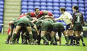 Reading. England. UK. Gloucester French Hooker, Jawad DJOUDI, pack sdown in the scrum during the  Premiership Rugby. London Irish vs Gloucester Rugby. 16.04.2001. Madejski Stadium. <br /> <br /> [Mandatory Credit, Peter Spurrier/ Intersport Images].