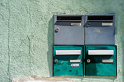 Post boxes on a house in Bauxwiller, Alsace, France<br /> <br /> (c) Andrew Wilson | Edinburgh Elite media