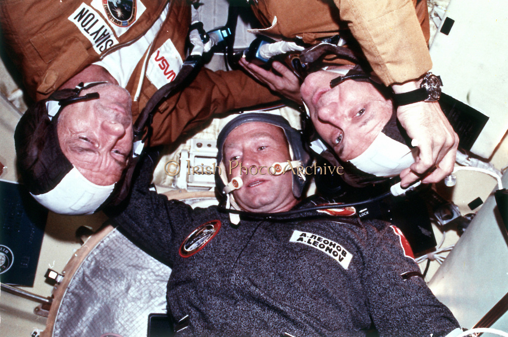 The two crews of the joint US/USSR ASTP docking in Earth orbit mission.   NASA photograph
