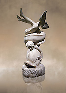 2nd century AD Roman sculpture of Eros with a dolphin, inv no 6357, The Farnese collection, Naples Museum of Archaeology, Italy ..<br /> <br /> If you prefer to buy from our ALAMY STOCK LIBRARY page at https://www.alamy.com/portfolio/paul-williams-funkystock/greco-roman-sculptures.html . Type -    Naples    - into LOWER SEARCH WITHIN GALLERY box - Refine search by adding a subject, place, background colour, museum etc.<br /> <br /> Visit our ROMAN WORLD PHOTO COLLECTIONS for more photos to download or buy as wall art prints https://funkystock.photoshelter.com/gallery-collection/The-Romans-Art-Artefacts-Antiquities-Historic-Sites-Pictures-Images/C0000r2uLJJo9_s0