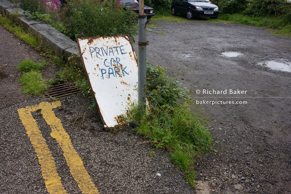 Makeshift private car park in Oban, Scotland.