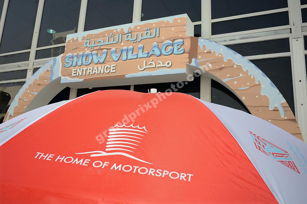 Snow village in the spectators area before the 2015 Bahrain Grand Prix. Photo: Grand Prix Photo