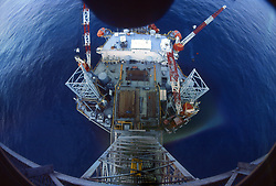 Stock photo of an overhead view of offshore jack-up drilling rig