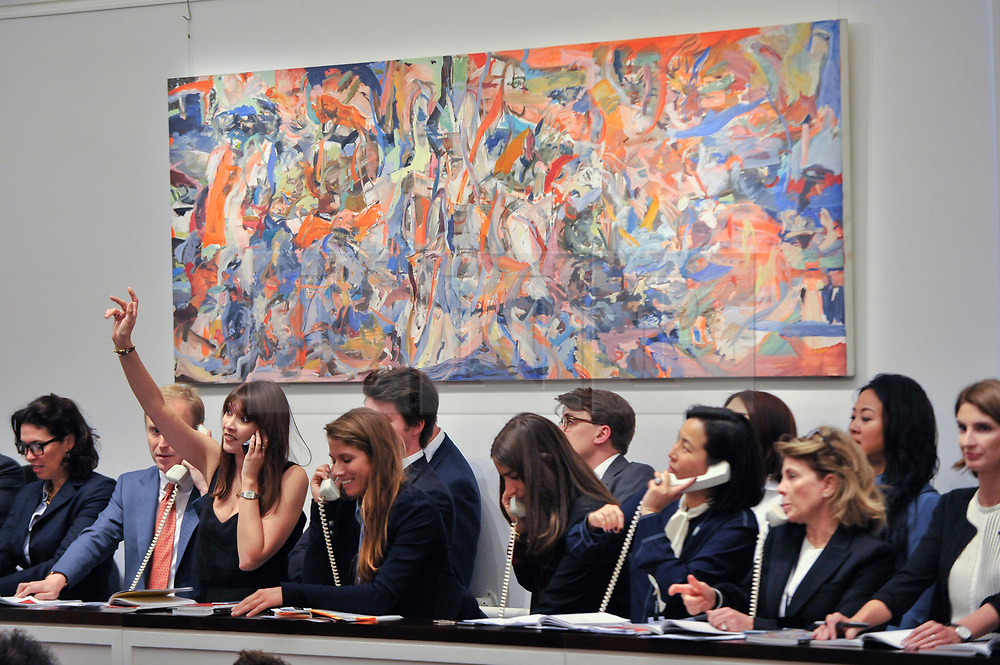 © Licensed to London News Pictures. 05/10/2017. London, UK.  'The Circus Animals' Desertion', 2014-15, by Cecily Brown sold for a hammer price of GBP925k (Est. GBP800-1,200k) at the Italian and Contemporary Art evening auction at Sotheby's, New Bond Street, coinciding with the opening of the London's Frieze Art Fair. Photo credit : Stephen Chung/LNP