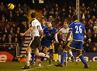Photo: Daniel Hambury.<br />Fulham v Tottenham Hotspurs. Barclays Premiership. 31/01/2006.<br />Fulham's Carlos Bocanegra (2nd right) scores the only goal of the game.
