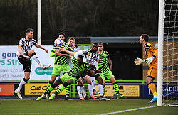 Jamille Matt of Forest Green Rovers is fouled by David Amoo of Port Vale- Mandatory by-line: Nizaam Jones/JMP - 16/01/2021 - FOOTBALL - innocent New Lawn Stadium - Nailsworth, England - Forest Green Rovers v Port Vale - Sky Bet League Two
