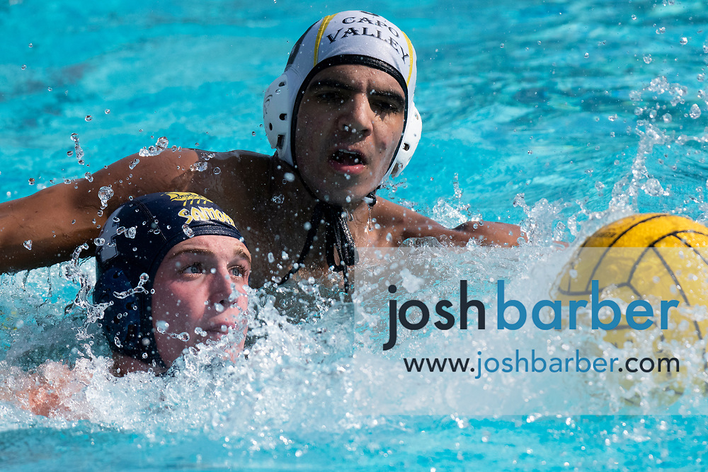 Santa Monica's Sawyer Koetters, Capistrano Valley's Kamran Eslami during the CIF-SS Division 4 boys water polo Final at William Woollett Jr. Aquatic Center on Saturday, November 10, 2018 in Irvine, Calif. (Photo by Josh Barber, Contributing Photographer)