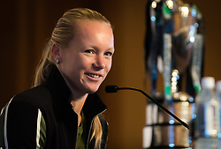 October 20, 2018 - Kallang, SINGAPORE - Kiki Bertens of the Netherlands talks to the media during the All Access Hour of the 2018 WTA Finals tennis tournament (Credit Image: © AFP7 via ZUMA Wire)