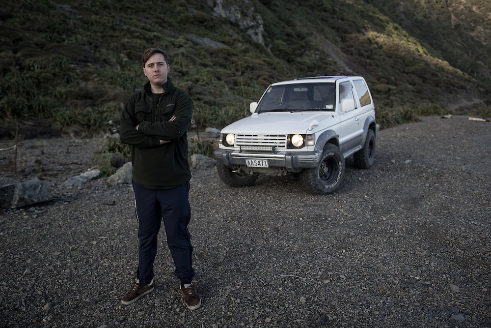 WELLINGTON, NEW ZEALAND - July 8:  Stanley Adam taking a break to have a walk around after driving his off-road truck around the South coast of Wellington. July 8, 2015 in Wellington, New Zealand.  REAL PEOPLE.  (Photo by Matt Silcock/ real-people.co.nz)
