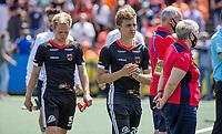 AMSTELVEEN -  Teleurstelling bij Linus Müller (Dui) en Niklas Bosserhoff (Dui) na de verloren finale,  EK hockey, finale Nederland-Duitsland 2-2. mannen.  Nederland wint de shoot outs en is Europees Kampioen.  COPYRIGHT KOEN SUYK