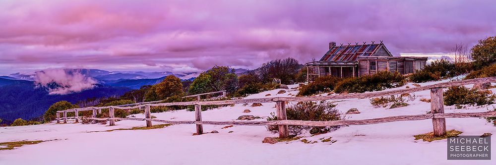 A panoramic photograph of Craig's Hut taken at sunset during overcast conditions in Winter.<br /> <br /> Code: HAVA0008<br /> <br /> Limited Edition of 125 Prints