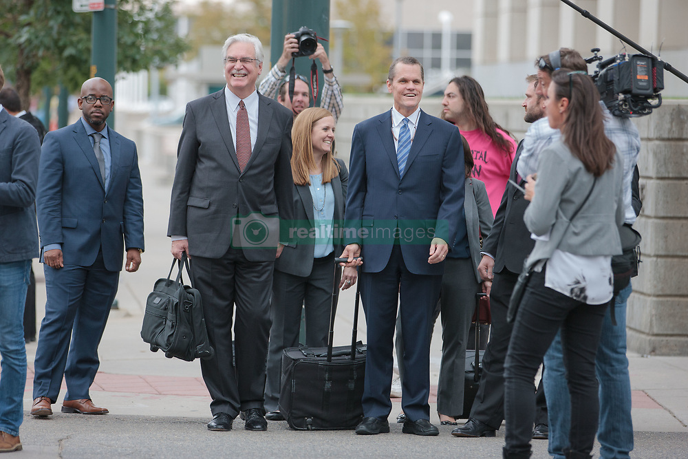 August 14, 2017 - Denver, Colorado, U.S - Attorneys for Taylor Swift leave the courthouse after day 6 of the Taylor Swift and David Mueller trial at the Alfred A. Arraj Courthouse. A federal jury found that a former radio show host groped singer Taylor Swift before a 2013 concert in Denver and awarded her $1 in damages. (Credit Image: © Matthew Staver via ZUMA Wire)