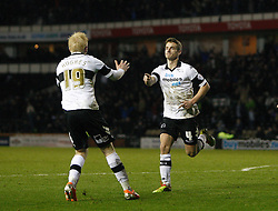 Derby County's Craig Bryson celebrates his equalising goal - Photo mandatory by-line: Matt Bunn/JMP - Tel: Mobile: 07966 386802 28/01/2014 - SPORT - FOOTBALL - Pride Park - Derby - Derby County v Yeovil Town - Sky Bet Championship
