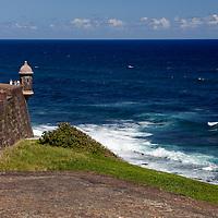 USA, Puerto Rico, San Juan. Garita, or sentry box, of San Cristobal Fort in Puerto Rico.