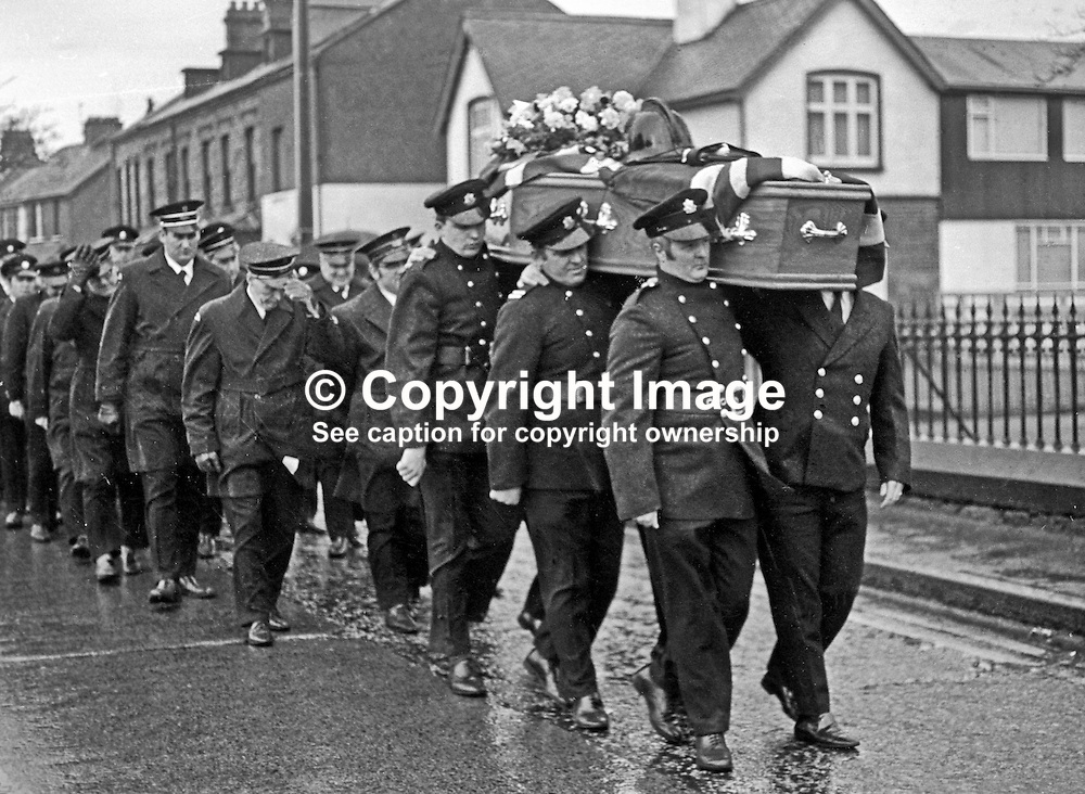 Funeral of 23 year old Fireman Brian Douglas who was shot dead by the UDA/UFF whilst attending a blaze near the junction of Sandy Row and Lisburn Road in South Belfast. The killing was one of four during a one day general strike on 7th February 1973. Colleagues carry his coffin with his fireman's helmet on top. The funeral was attended by firemen colleagues from all over N Ireland. 197302100085a<br /> <br /> Copyright Image from Victor Patterson, Belfast, UK<br /> <br /> t: +44 28 9066 1296 (from Rep of Ireland 048 9066 1296)<br /> m: +44 7802 353836<br /> e: victorpattersonbelfast@gmail.com<br /> <br /> www.images4media.com<br /> <br /> Please see my full Terms and Conditions of Use at https://www.images4media.com/p/terms-conditions - it is IMPORTANT that you familiarise yourself with them.<br /> <br /> Images used online incur an additional cost. This cost should be agreed in writing in advance. Online images must be visibly watermarked i.e. © Victor Patterson or that of the named photographer within the body of the image. The original metadata must not be deleted from images used online.<br /> <br /> This image is only available for the use of the download recipient i.e. television station, newspaper, magazine, book publisher, etc, and must not be passed on to a third party. It is also downloaded on condition that each and every usage is notified within 7 days to victorpattersonbelfast@gmail.com.<br /> <br /> The right of Victor Patterson (or the named photographer) to be identified as the author is asserted in accordance with The Copyright Designs And Patents Act (1988). All moral rights are asserted.