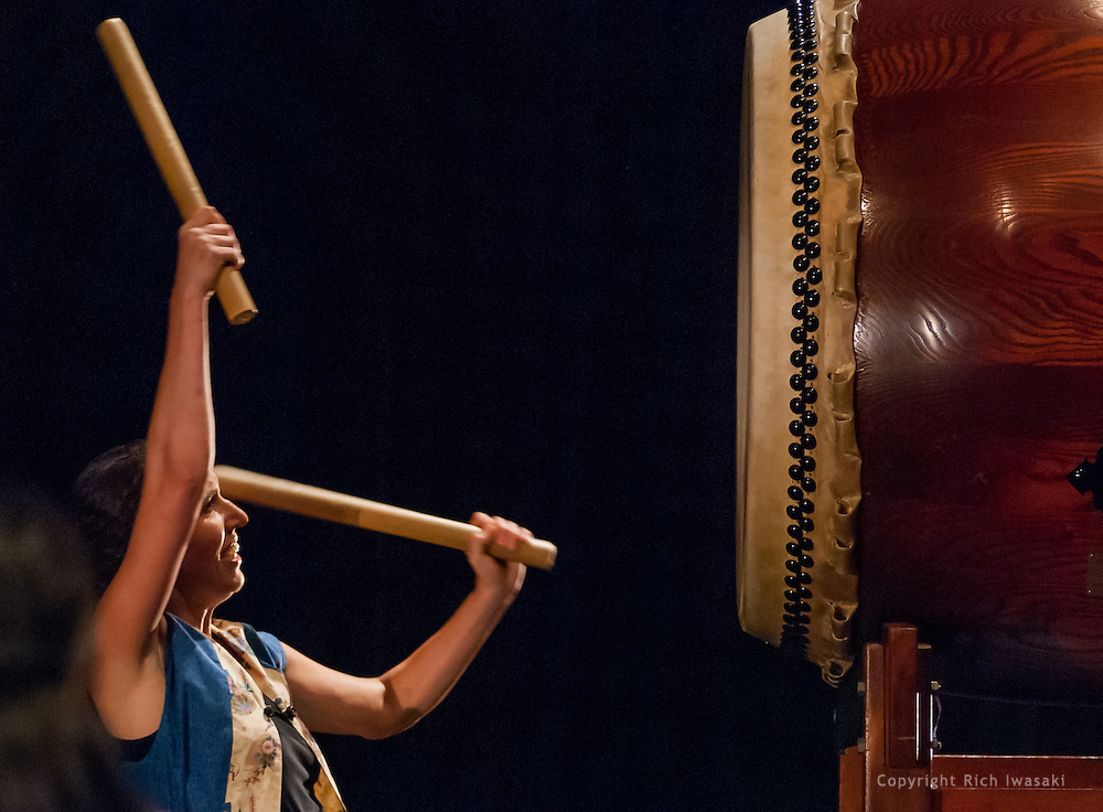 Members of Portland Taiko perform at the 2012 concert Making Waves, Portland State University Lincoln Performance Hall, Portland, Oregon