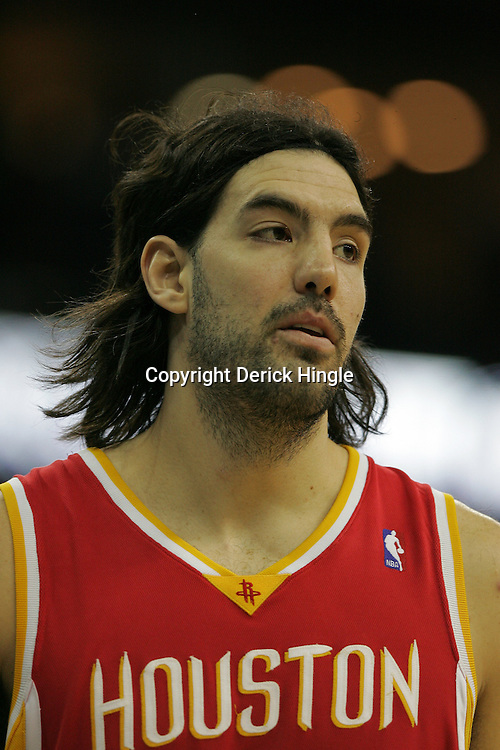 Jan 02, 2010; New Orleans, LA, USA; Houston Rockets forward Luis Scola (4) during a game against the New Orleans Hornets at the New Orleans Arena. The Hornets defeated the Rockets 99-95.  Mandatory Credit: Derick E. Hingle-US PRESSWIRE