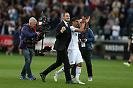 Paul Clement, the Swansea city manager © celebrates on the pitch at full-time after his team win the match 1-0. Premier league match, Swansea city v Everton at the Liberty Stadium in Swansea, South Wales on Saturday 6th May 2017.<br /> pic by  Andrew Orchard, Andrew Orchard sports photography.