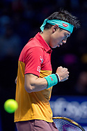 Kei Nishikori of Japan fist pumps during the Nitto ATP World Tour Finals at the O2 Arena, London, United Kingdom on 11 November 2018. Photo by Martin Cole