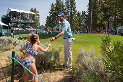 July 15, 2018 - Stateline, Nevada, U.S - Emmy Award-winning actor, RAY ROMANO, signs autographs for young fans at the 17th hole during the 29th annual American Century Championship at the Edgewood Tahoe Golf Course at Lake Tahoe, Stateline, Nevada, on Sunday, July 15, 2018. (Credit Image: © Tracy Barbutes via ZUMA Wire)