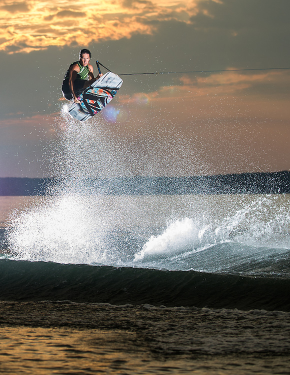 Adam Fields shot for Alliance Wakeboard Magazine in Lake Gaston, North Carolina.
