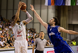 Devin Oliver #5 of KK Union Olimpija vs Dragan Duranovic of Rogaska during basketball match between KK Union Olimpija and KK Rogaska in 2nd Final game of Liga Nova KBM za prvaka 2016/17, on May 19, 2017 in Hala Tivoli, Ljubljana, Slovenia. Photo by Vid Ponikvar / Sportida